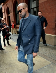 Kanye-West-Balmain-navy-double-breasted-jacket-Persol-shades-3